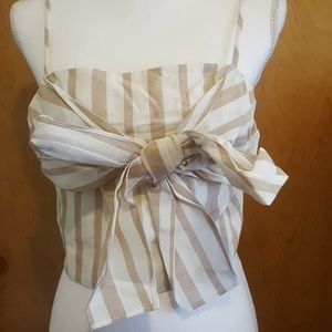 Stripped Crop Top with Front Ribbon